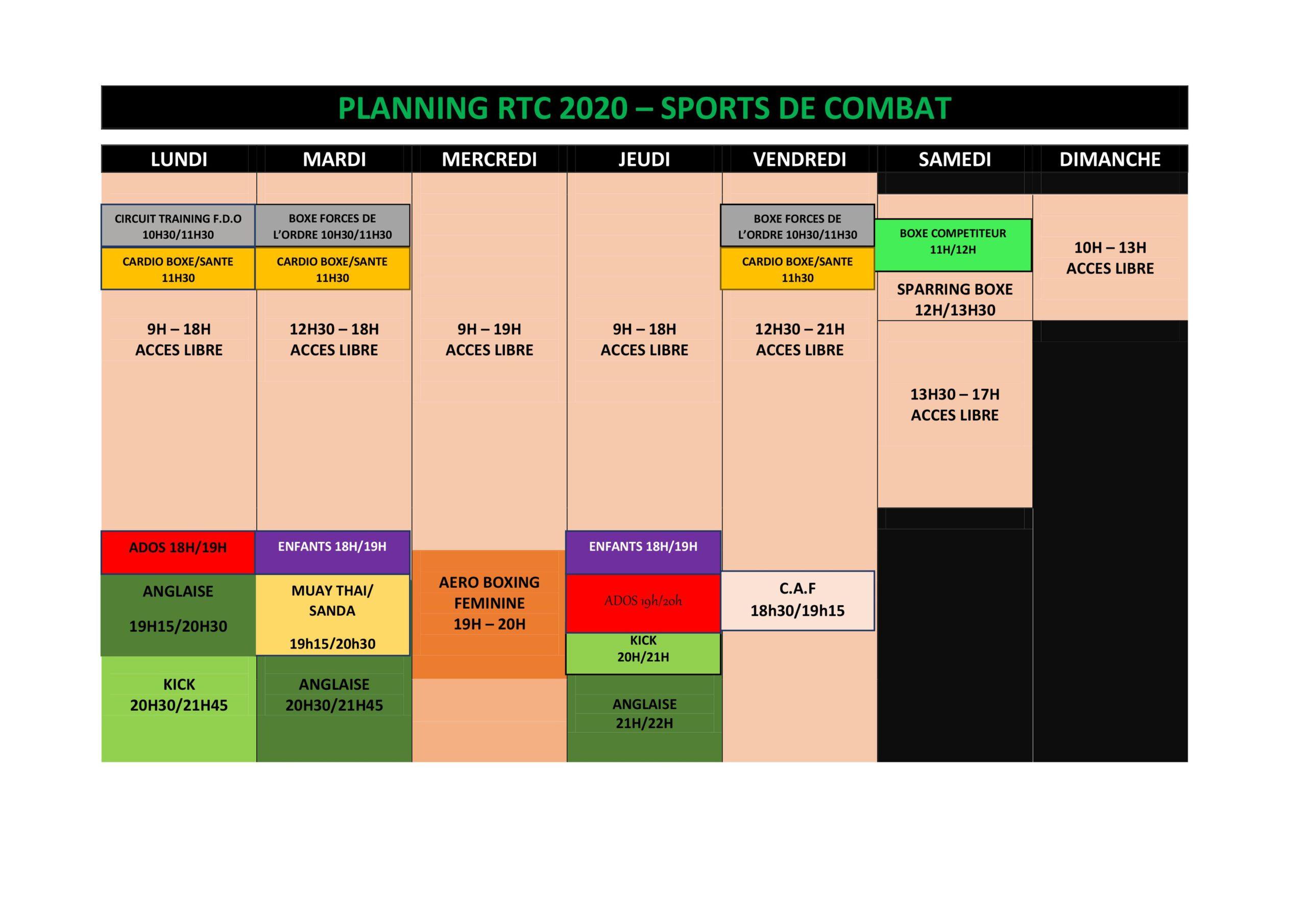 Plannings RTC 2020 Sports de combat