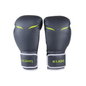 Gants de boxe Elion gris et fluo avec manchettes longues